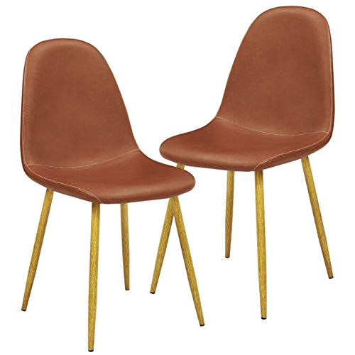 GreenForest Dining Chairs Set of 2, Modern Mid Century Faux Leather Upholstered Side Chair with Metal Legs for Kitchen Living Room,Brown