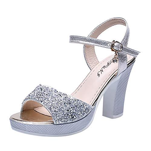 Zapatos de tacón Alto con Tacones Fino y Sandalias para Mujer Sandalias de Vestir de Boda de Fiesta Plateado 38