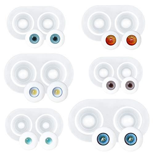WANDIC Docka ögon formar, uppsättning av 6 ögon kupol silikonformar harts ögongloben form BJD docka tung elev öga klar silikonform för gör-det-själv hantverk