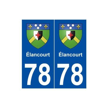 78 Élancourt blason autocollant plaque stickers ville - Angles : droits