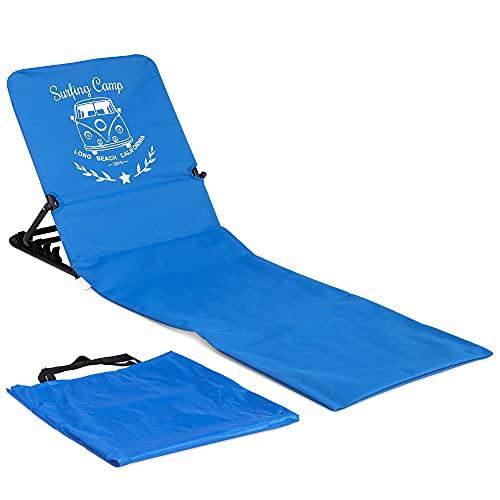 JEMIDI Strandmatte Strandstuhl mit Rückenlehne - 1,7 kg Matte mit Lehne Strandliege Liegematte - faltbar leicht tragbar - Summer Lounge Design - Blau