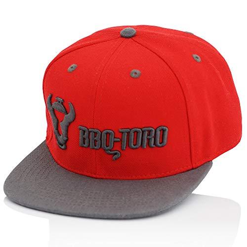 BBQ-Toro Snapback Cap für Männer und Frauen | verstellbar | rot mit Sticklogo