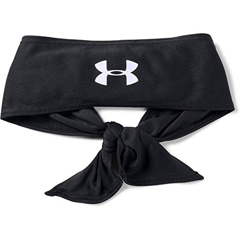 Under Armour Adult Tie Headband , Black (001)/White , One Size Fits All