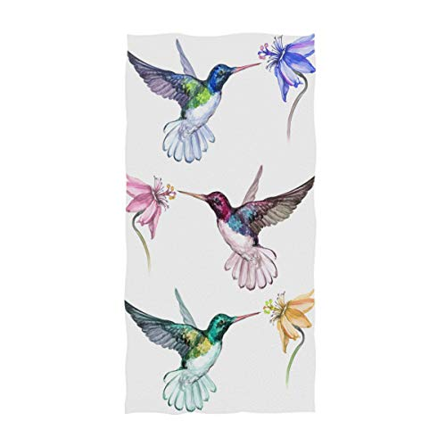 AGONA Beautiful Colorful Hummingbirds Floral Hand Towels Absorbent Soft Face Towels Large Decorative Bath Towels Multipurpose for Bathroom Kitchen Gym Yoga 30'x15'