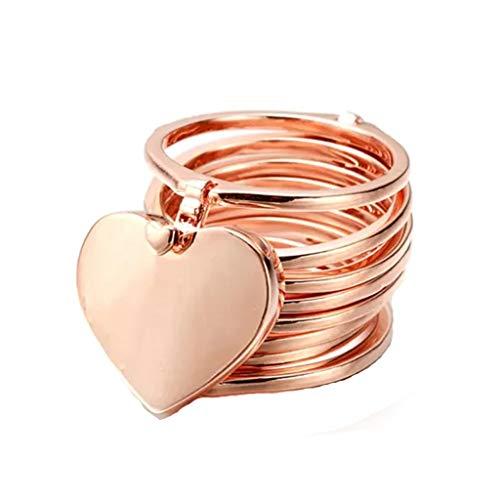 Cloodut Collar de Plata, Anillo retráctil, Pulsera, Amor, corazón, Pulsera mágica Variable, Anillo para Mujer Rose Gold L
