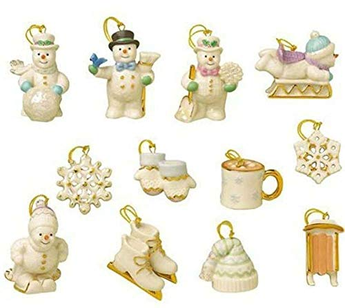 Lenox Snow Pals 12 Miniature Ornaments Set Snowman Skis...