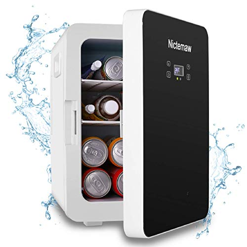 Nictemaw Mini Fridge Electric Cooler and Warmer, Mini Fridge with LCD Display and Digital Thermostat, Single Door Portable Makeup Skincare Fridge for Cars, Road Trips, Homes, Offices & Dorms