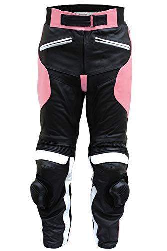 German Wear Damen Motorradhose Motorrad Biker Racing Lederhose Rindsleder, Rosa, 38/M