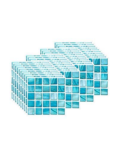 FBBULES 40 Piezas Pegatinas de Baldosas Calor Impermeable Papel Vinilo Adhesivo Pegatinas de Pared Decorativos para Sala Cocina Mosaico Cielo Azul (10 x 10 cm / 4 x 4 Pulgadas)