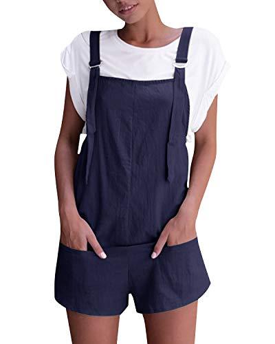 VONDA Damen Latzhose Retro Shorts Lässig Übergröße Jumpsuit Baggy Sommerhose Mit Tasche A-Marine M