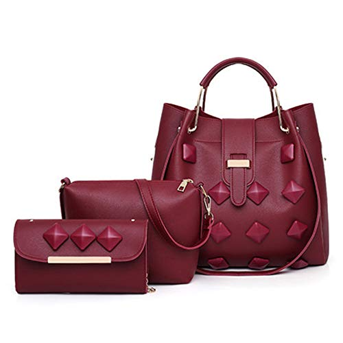 Bag PU Leather Women's Handbag Single-shoulder Bag For Working Or Travlling Jianmeili (Color : Wine Red)