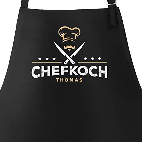 SpecialMe® Küchen-Schürze Name anpassbar Schriftzug Chefkoch individualisierbar Kochschürze Männer personalisierte Geschenke schwarz Unisize