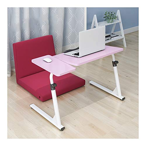 WEICG Mobile Lap Table Mobile Laptop Desk, Adjustable Height Laptop Table, Can Be Used In The Bedroom, Living Room, Two Styles (Color : Pink, Size : Style B)