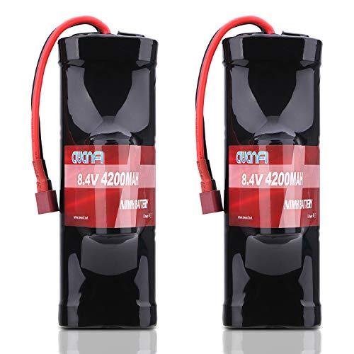 AWANFI RC Akku 8,4V 4200mah NiMH 2 Pack Akkupack Modellbau Batterie mit Deans T Stecker Ersatzakku für RC Auto Boot Buggy