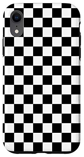 iPhone XR Black and White Checkered Checkerboard Pattern Case