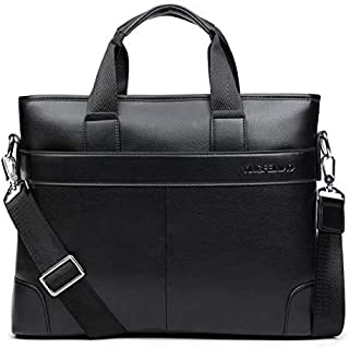 2020 Men's Business Black Casual Bag pu Leather Briefcase Men's Tote Bags Brown Male Business Large Capacity (Color : Black, Size : -)