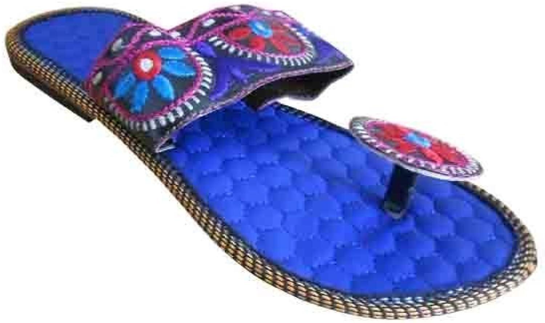 Kalra Creations Mojari Indian Women shoes Slippers Flip-Flops Handmade Leather Flat