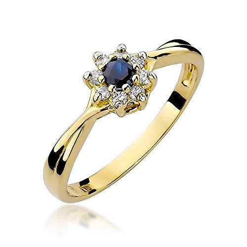 Damen Ring 585 14k Gold Gelbgold echt Saphir Edelstein Diamanten Brillanten
