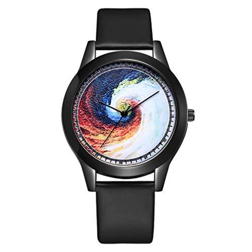 TWISFER Damen Mode Einfach Analog Quarz Armbanduhr Dark Blue Star/Schwarzes Loch Zifferblatt mit Leder Armband Uhrdamenquarzuhr