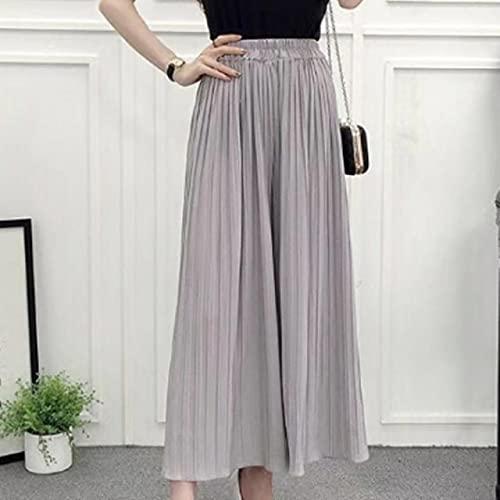 UKKD Vestido de Playa Damas Gasa Plisada Color Sólido Suelto Casual Tobillo Pantalones-Gray,One Size