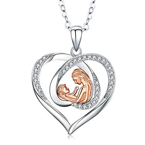 Plata de ley 925 Madre e hijo Amor Corazón Colgante Collar 5A Cubic Zirconia Joyas Regalos para abuela Mamá Hija Esposa con caja de regalo