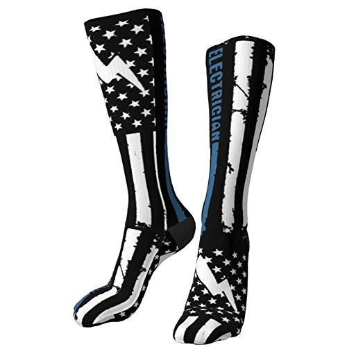 Product Image 2: Crew Socks Calf Socks Electrician With American Flag Casual Athletic Warm Thick Moisture Wicking Breathable for Men Sock