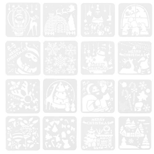 Artibetter 16 Hojas de Plantillas de Dibujo Navideño Castillo de Plástico Copo de Nieve Árbol Alce Plantilla de Pintura Diy Arte Pintura Molde para Tarjeta de Invitación Bullet Journal