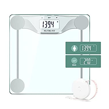 Digital Body Weight Bathroom Scale BMI,Accurate Weight Measurements by NUTRI FIT,Large Backlight Display and Step-On Technology,400 pounds, Body Tape Measure Included,Silver