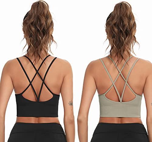 Enjoyoself Damen Sport-BH 2er Set Yoga BH Bügellos Push Up Sports Bra mit Kreuz Rücken Luftig Bustier für Sport Alltag schwarz+grün,M