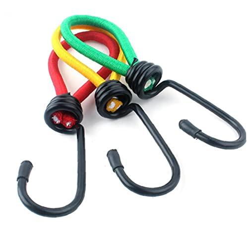 Sanfiyya Elástica Bungee Cordones Heavy Duty Cuerda elástico Cuerdas elásticas con Ganchos para Acampar Lonas de Carga Tiendas de campaña Color Mezclado 3pcs