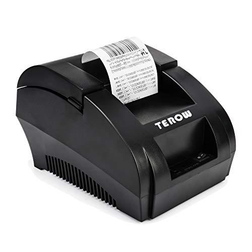 Impresora térmica de recibos USB TEROW 58mm Mini impresora de etiquetas portátil pequeña con impresión de alta velocidad Compatible con ESC/POS Conjunto de comandos de impresión, fácil de configurar