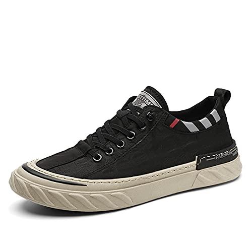 Los hombres zapatillas de deporte de verano de malla de deportes hombre correr transpirable plana zapatos de seguridad masculinos jóvenes al aire libre ligero zapato, color Negro, talla 42 1/3 EU