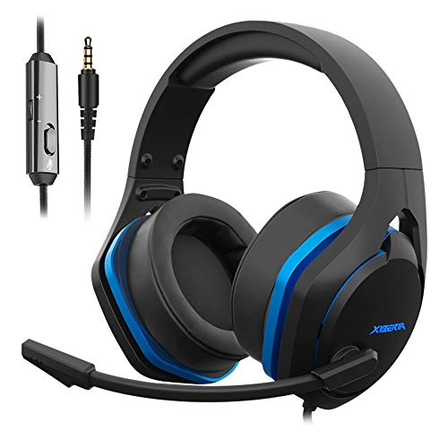 Jeecoo V22 Gaming Headset for Xbox One PS4 PC PS5, Stereo Deep Bass Sound Headphones with Noise Cancelling Microphone, Big Breathable Ear Cups for Mobile Laptops and More