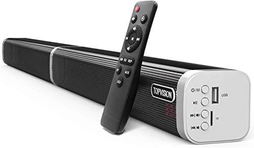 60W Soundbar TOPVISION, dispositivo Bluetooth 5.0 wireless Streamin, altoparlanti rimovibili con subwoofer stereo DSP bassi audio per dispositivi TV T
