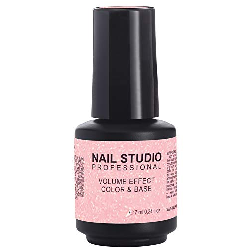 Nail Studio - Volume Effect Color & Base - Base Volumizzante Colorata Per Smalto Semipermanente - 06 Glitter Pink - Formato 7 ml