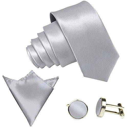 GASSANI GASSANI 3-SET Krawattenset, 8,5Cm Breite Hell-Graue Herren-Krawatte Schmal Manschettenknöpfe Ein-Stecktuch, Bräutigam Hochzeitskrawatte Glänzend