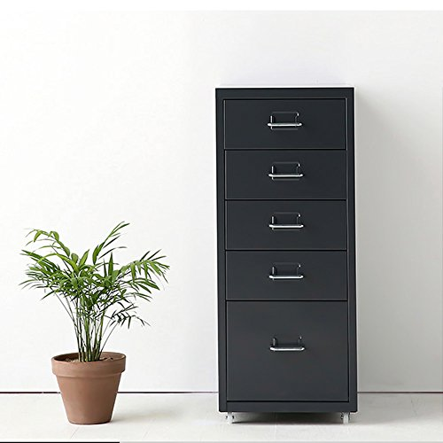 IKAYAA Archivador Cajonera de Metal Mueble para Oficina Taquilla con 5 Cajones 4 Ruedas Gris Oscuro, Armario de archivador de Metal