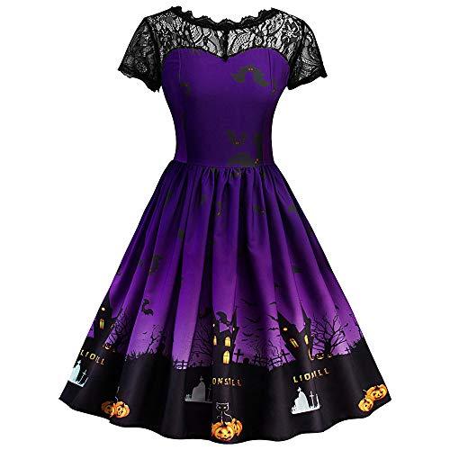 UJUNAOR Damen Kleider Halloween Vintage Lace Kleid A-Line Kürbis Mädchen(Lila,CN XL)