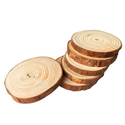 VORCOOL 10 Stücke Rund Holzscheiben 9-10cm Holz Log Scheiben Baumscheiben für DIY Handwerk