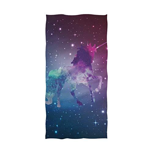 DXG1 - Toalla de playa con diseño de unicornio galaxia y cielo estrellado para adultos de microfibra de 32 x 64 pulgadas