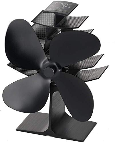 Heat Powered Wood Stove Fan with 4-Blade, Quiet Fireplace Wood Burning Eco-Friendly Fan for Home High Efficient Heat Distribution…