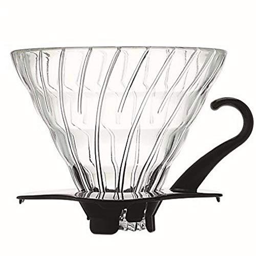 HARIO VDG-02B Kaffeefilterhalter, Glas, schwarz,
