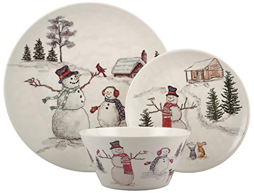 Melange 12-Piece 100% Dinnerware Set for 4 Christmas Collection-Snowman Shatter-Proof and Chip-Resistant Melamine Dinner Plate, Salad Plate & Soup Bowl (4 Each), 10.5', White