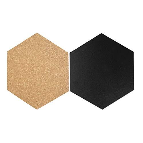 Securit Kreide- und Korktafeln in Hexagonform, 4x Kreidetafel, 3x Kork, mit Pinnadeln und Klettband zur Wandbefestigung und einem weißen Kreidemarker