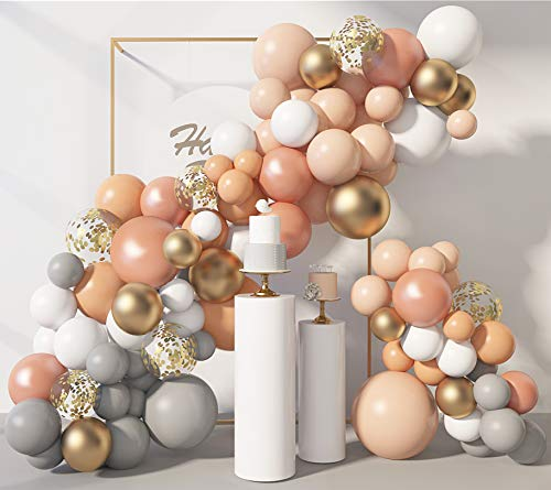 129 Pcs Blush Balloons Garland Arch Kit 12'' 10'' 5'' Peach Pastel Orange Rose Gold Gray White Balloons Confetti Latex Balloons for Wedding Bridal Shower Birthday Party Decorations with 4Pcs Tools