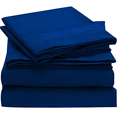 Mellanni Bed Sheet Set Brushed Microfiber 1800 Bedding - Wrinkle, Fade, Stain Resistant - Hypoallergenic - 4 Piece (King, Imperial Blue)