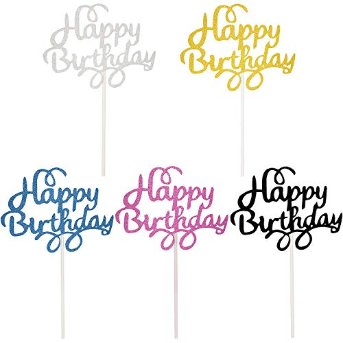 25 Piezas de Toppers de Pastel Happy Birthday Toppers de Cupcake Brillantes...