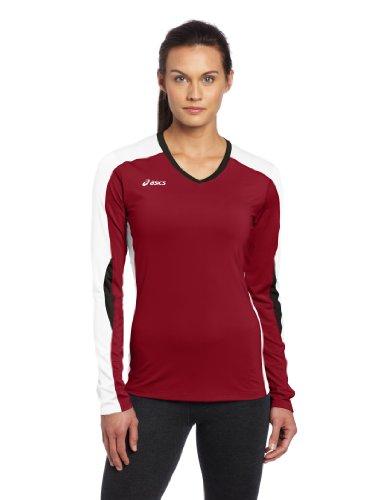 ASICS Damen Rolle Shot Jersey, Damen, Roll Shot™ Jersey, Cardinal/White, X-Small