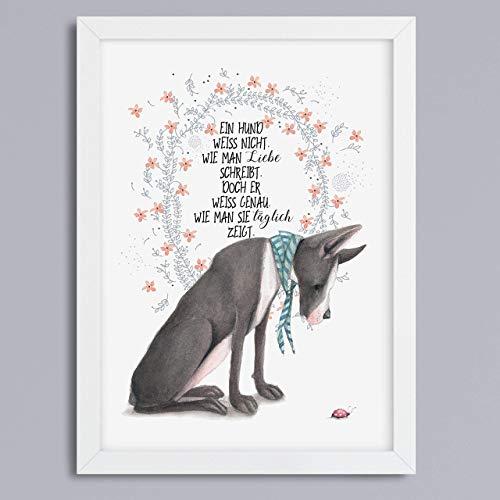 Hund & Liebe - Kunstdruck ohne Rahmen