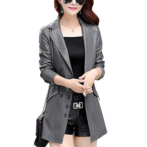 DISSA P7058 - Abrigo de piel sintética para mujer gris 44
